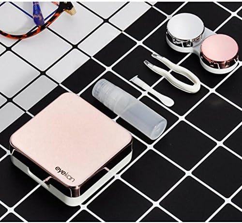 旅行ポータブルコンタクトレンズケースファッションアイケアキットボックス -ピンク