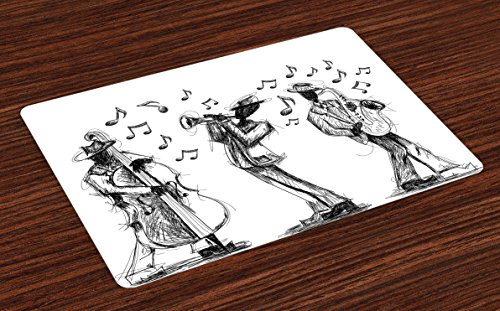 Lunarable Music Place Mats Set of 4, Sketch Style of a Jazz Band Playing Music with Instruments and Musical Notes Print, Washable Fabric Placemats for Dining Table, Standard Size, Black White