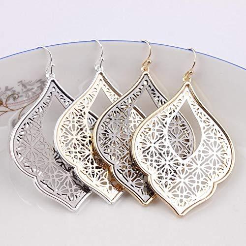 - New Party Dress Morocco Teardrop Earrings | Fashion Two Tone Zinc Alloy Cutout Statement Earrings for Women