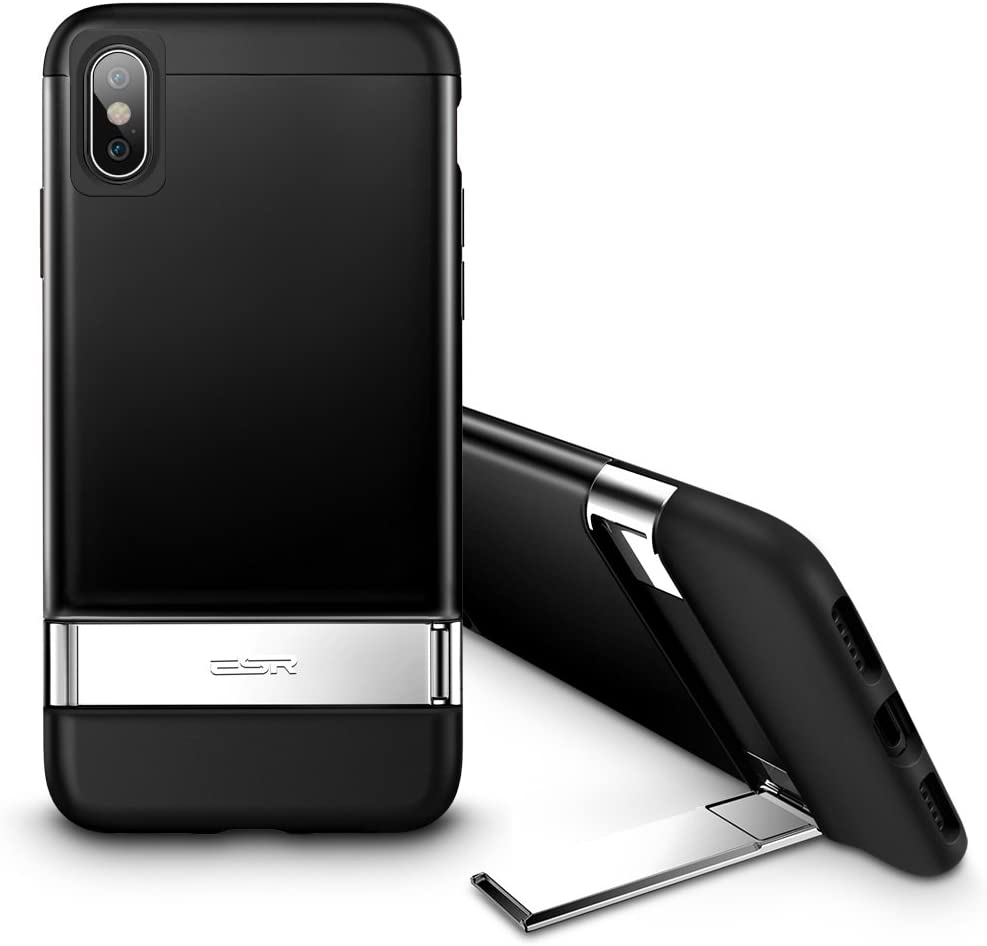 ESR Metal Kickstand Case for iPhone Xs/X, [Vertical and Horizontal Stand] [Reinforced Drop Protection] Hard PC Back with Flexible TPU Bumper for The iPhone Xs/X, Black