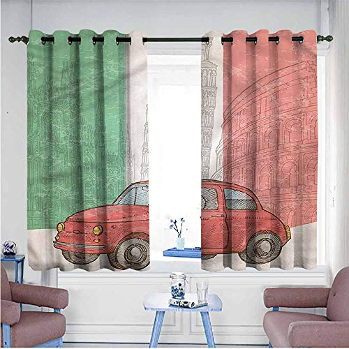 Mdxizc Bedroom Curtain Italian Flag Leaning Tower of Pisa Girl Room Blackout Curtain W72 xL63 Suitable for Bedroom,Living,Room,Study, etc.