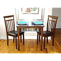 Dining Kitchen Set of 3 pc Square Table and 2 Classic Solid Wooden Chairs Warm in Dark Walnut Finish