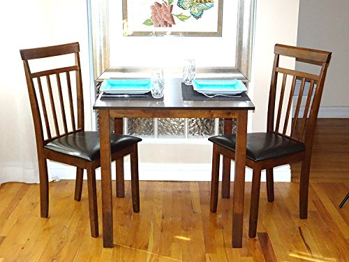 Dining Kitchen Set of 3 pc Square Table and 2 Classic Solid Wooden Chairs Warm in Dark Walnut Finish (With Rattan Chairs Room Set Dining)