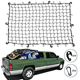 Kohree 4'x6' Super Duty Bungee Cargo Net for Pickup Truck Bed Stretches to 8'x12' for SUV Jeep Oversized Rooftop Cargo Rack with 16pcs D Clip Carabiners, 10pcs ABS Hooks