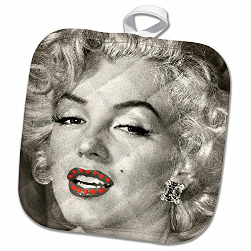 3D Rose Portrait of Marilyn Monroe Black and White Read Hearts Pot Holder, 8 x 8