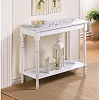 Charming Home Décor Intricately Carved Top Table- Distressed White Wood- Hallway