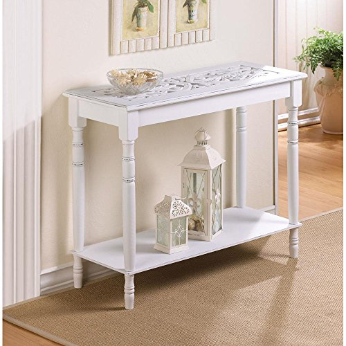 Charming Home Décor Intricately Carved Top Table- Distressed White Wood- Hallway For Sale