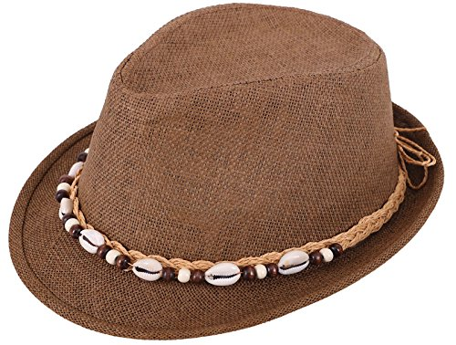 Panama Style Straw Fedora Short Brim Beach Hat with Seashell Accent, Brown L/XL (Straw Seashell)