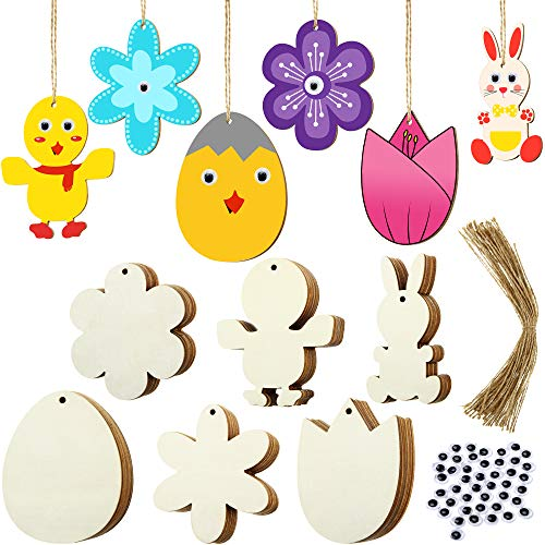 120 Pieces Unfinished Wood Easter Ornaments Egg Bunny Duck Tulip Shape Cutouts with Holes Hang Tags Favor Tags Gift Tags Treats Tags with Twines and Googly Wiggle Eyes for Easter Springtime Craft