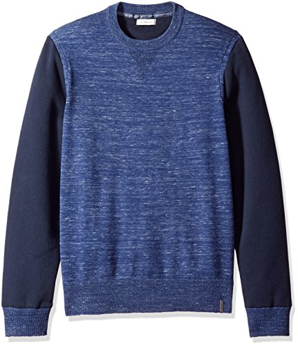 Calvin Klein Jeans Men's Space Dyed Color Block Crew Neck Sweatshirt, Navy Heather, LARGE