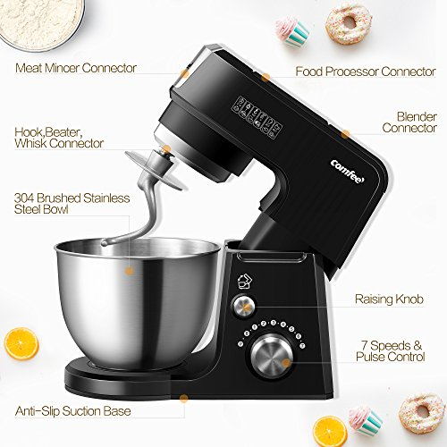 Comfee 2.6Qt Die Cast 7-in-1 Multi Function Tilt-Head Stand Mixer with SUS Mixing Bowl, Whisk, Hook, Beater, Splash Guard.4 Outlets, 7 Speeds & Pulse, 15 Minutes Timer Planetary Mixer (Black) by Comfee (Image #5)
