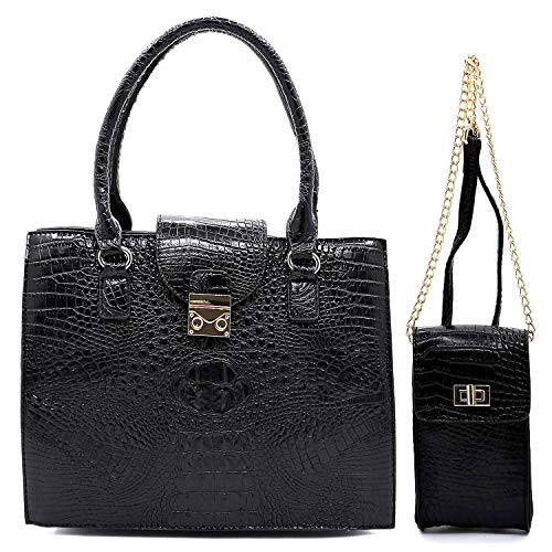 (2pc Le Miel Croc Embossed Set: Zip Top Satchel w/Strap + Mini Crossbody)
