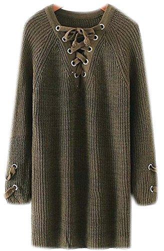 Maglione Maglione Maglieria Autunno Jacket Invernali Vestito Vestito Vestito Donna Scollo Pullover 2017 V Femminili Signora Maglioni Inverno Verde Tops Cappotto Maglie Top qYAZE1