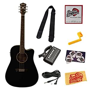 washburn wd10sce dreadnought cutaway acoustic electric guitar bundle with 10 foot. Black Bedroom Furniture Sets. Home Design Ideas