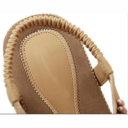 5 de de Opcional Verano UK3 Punta EU36 XIAOLIN Coreano Estilo Popular Tamaño Cómodo Blanco Femeninas Zapatos Color CN35 Abierta Piso Negro Sandalias Tamaño Vacaciones Sandalias Suave Inferior UxtSn