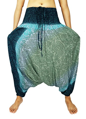 Design By Jingle Women's Smocked Waist Aladdin Harem Hippie Pants Jumpsuit (Cl-Green) - Pj Training Table