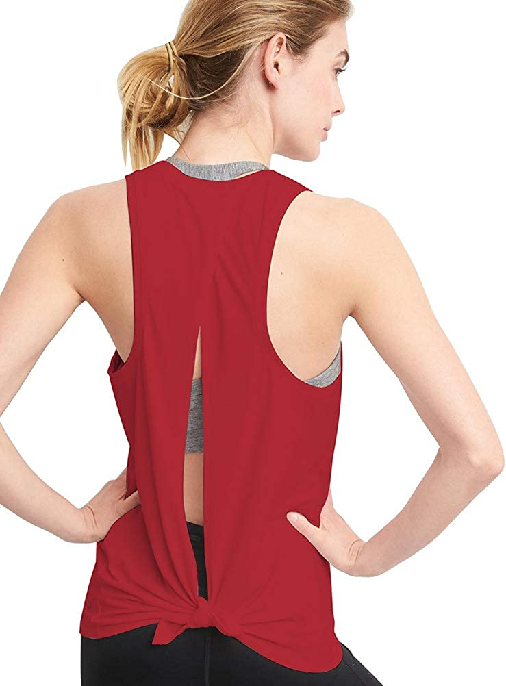 Bestisun Womens Backless Yoga Tops Running Open Back Shirts Workout Gym Clothes