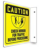 CHECK MIRROR FOR TRAFFIC BEFORE PROCEEDING (2 Pack)