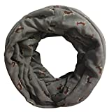 Lina & Lily Beagle Dog Print Infinity Loop Scarf for Women Lightweight (Grey)