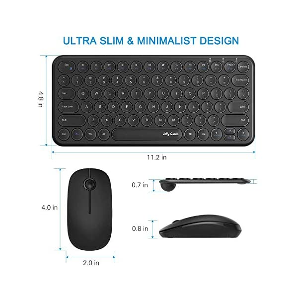 Wireless Keyboard and Mouse Combo, Jelly Comb KS45 2.4GHz Ultra Thin Compact Small Wireless Keyboard and Mouse Set for…