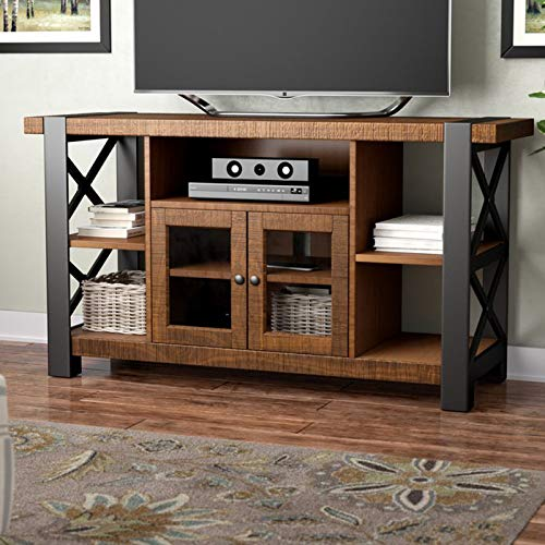 "TV Stand for TVs up to 55"" - Entertainment Center with 2 Doors and Open Shelves - Contemporary Media Storage Console"