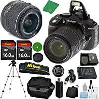 Nikon D5300 Digital SLR - International Version (No Warranty), 18-55mm f/3.5-5.6 DX VR, 2pcs 16GB ZeeTech Memory, Camera Case