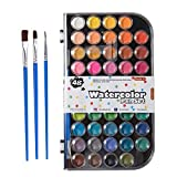 48 Colors Watercolor Paint, Shuttle Art Watercolor Pan Set with 3 Paint Brushes Perfect for Kids Beginners Adults Watercolor Painting