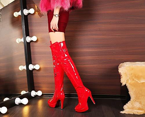 Alto Sexy Ginocchio Donna Cavaliere Tacco Rosso Sopra Tacchi Ballo Liangxie Con Da Il Stivali Asta Alti Pedicure vqH7wR1x