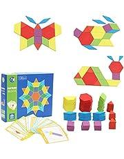 Afunti Bloques de Madera Blocks Juguetes educativos clásicos con 130 Piezas de Formas geométricas y 24 diseños niños Brain Training Geometría Juegos Puzzles patrón bloques
