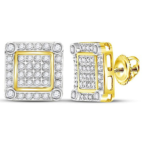 10k Yellow Gold Mens Round Diamond Square Stud Earrings 1/4 Ct. ()