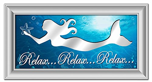 Insert Plaque - Chesapeake Bay Relax Relax Relax Cut Out Mermaid Wall Plaque with Mirror Insert