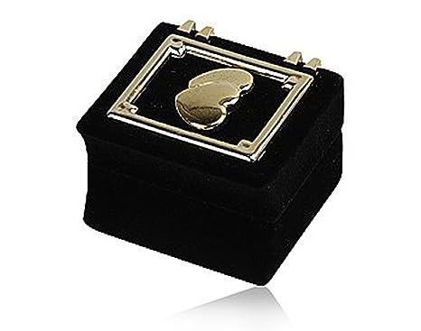 Tempelwelt Anillo Caja de Regalo Caja joyero para Anillos y Joyas Forrado con Terciopelo Negro,