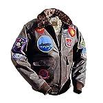 Noble House Homme Veste Aviation Top Gun Mavericks en Cuir de Taureau Marron foncé 8