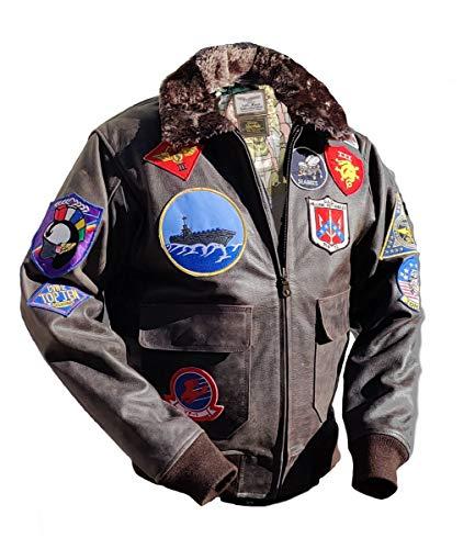 Noble House Homme Veste Aviation Top Gun Mavericks en Cuir de Taureau Marron foncé 1