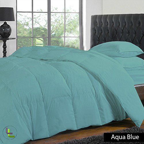 Floris Fashion Olympic Queen 400TC 100% Egyptian Cotton Aqua Blue Solid Superb Finish 4PCs Duvet Set Fitted Sheet Solid(Pocket Size: 25 inches)
