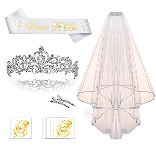 Konsait Bride to Be Sash and Tiara Kit - Wedding Tiara with Veil and Bachelorette Party Tattoo Bundle, Bride to be Tiara and Sash Set for Bachelorette Party Supplies Wedding -
