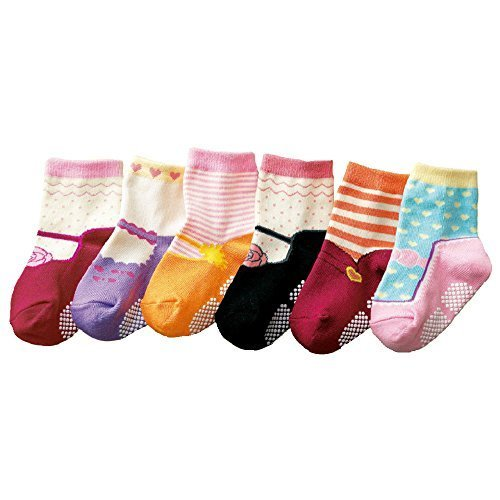 Baby Girls Kids 6-Pack MARY JANE Anti-slip Ankle Socks (SET K) - ONE SIZE (Suitable for 1 to 2 years old)