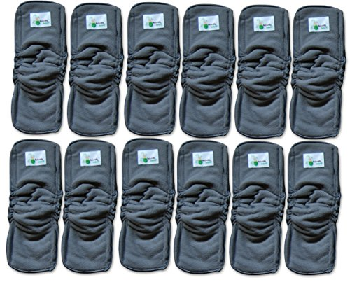 Naturally Natures Soft Baby 5 Layer Charcoal Bamboo Inserts Reusable Liners for Cloth Diapers with Gussets (Pack of 12) (Grey)