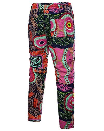 Floreale Pantalone Chic Lunghi Coulisse Pink Uomo Vintage Anyua Eleganti Stampato Con Casual qYUwyx8
