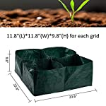 """Apipi raised garden planter fabric bed, 4 divided grids durable square planting grow pot for carrot onion herb flower… 7 made of eco-friendly polypropylene material, waterproof, heat and cold resisting(-94℉ to 320℉). 4 grids garden bed - this plastic planting garden bed has 4 divided grids, 11. 8""""(l)*11. 8""""(w)*9. 8""""(h) for each grid. There are some drain holes on bottom, helpful for planter growth. Great for seedling growing and planting - this raised garden bed is good for seedlings and planters growth, works with any material pot or planter. Cube square allows it to be placed on any flat surface, rooftop, patio, urban gardens, concrete, etc.."""