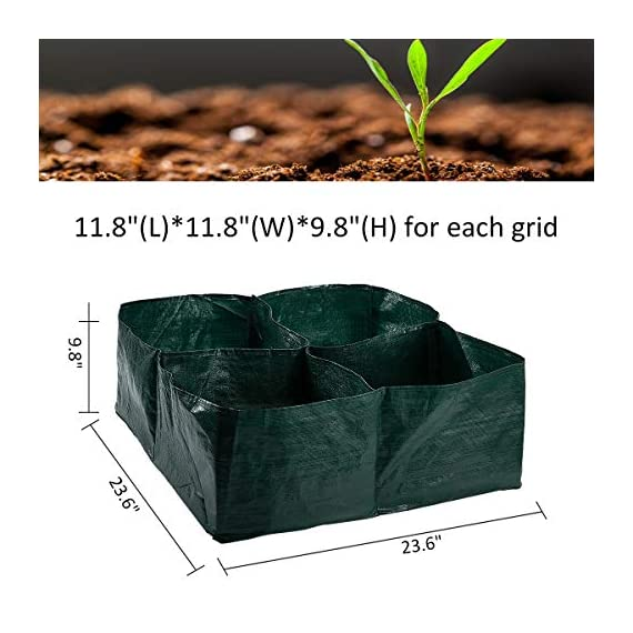 """Apipi raised garden planter fabric bed, 4 divided grids durable square planting grow pot for carrot onion herb flower… 2 made of eco-friendly polypropylene material, waterproof, heat and cold resisting(-94℉ to 320℉). 4 grids garden bed - this plastic planting garden bed has 4 divided grids, 11. 8""""(l)*11. 8""""(w)*9. 8""""(h) for each grid. There are some drain holes on bottom, helpful for planter growth. Great for seedling growing and planting - this raised garden bed is good for seedlings and planters growth, works with any material pot or planter. Cube square allows it to be placed on any flat surface, rooftop, patio, urban gardens, concrete, etc.."""