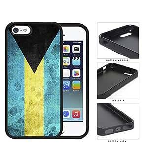 Bahamas Flag Black Triangle with Aquamarine and Yellow Horizontal Bands Grunge Hard Rubber TPU Phone Case Cover...