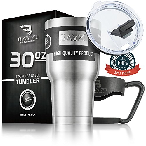 Tumbler open lid 30 OZ , Free Bonus - removable handle - Stainless Steel, Double Walled Vacuum Insulation for Hot and Cold Drinks. by BAYZI
