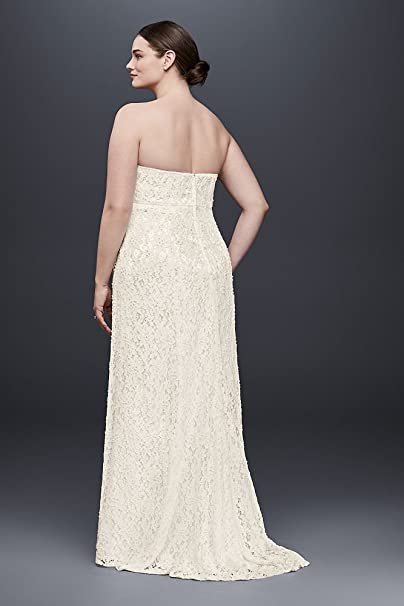 48f6751bd513b Lace Empire Waist Plus Size Wedding Dress Style 9S8551 at Amazon Women's  Clothing store:
