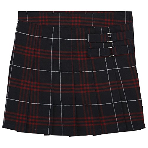 French Toast Big Girls' Plaid Pleated Scooter, Navy/Red, ()