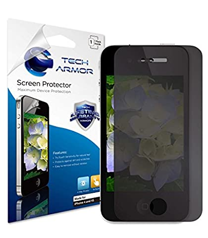 iPhone 4 Privacy Screen Protector, Tech Armor 4Way 360 Degree Privacy Apple iPhone 4 / 4S Film Screen Protector (Iphone 4s Privacy Screen 3m)