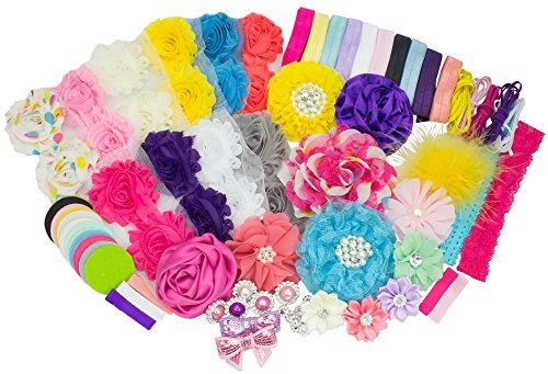 Baby Shower Headband Station DIY Kit by JLIKA - Make 32 Headbands and 5 Clips - DIY Hair Bow Kit - Birthday Party Collection