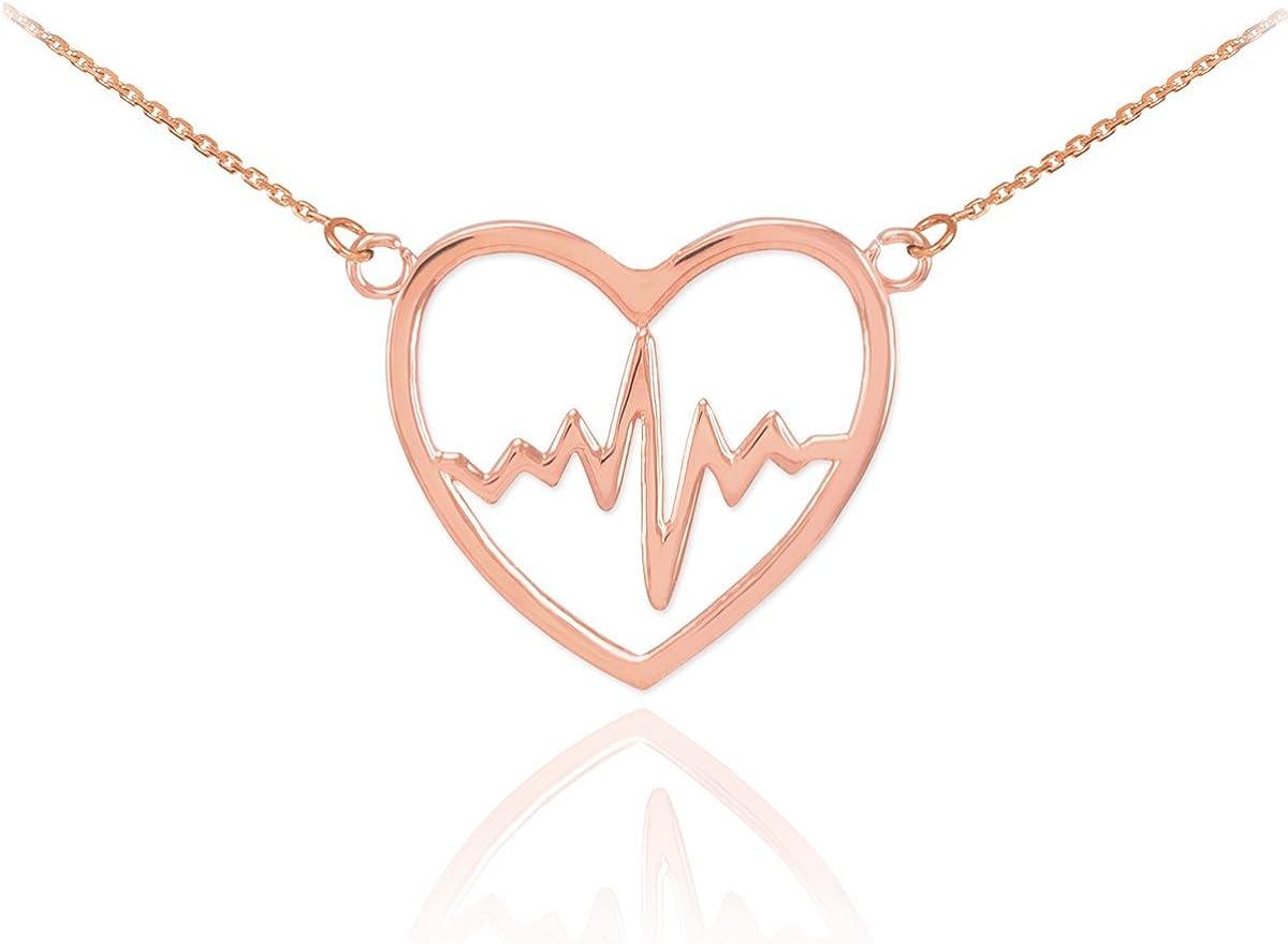 14k Rose Gold Heartbeat Pulse Pendant  Necklace Nurse Doctor Patien Health Love