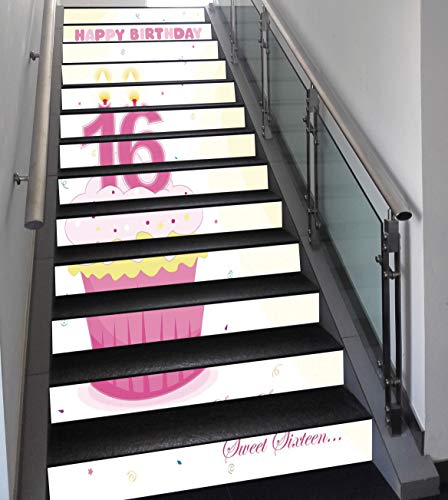 Stair Stickers Wall Stickers,13 PCS Self-adhesive,16th Birthday Decorations,Cupcake Candle Teen Girls Style Sweet Surprise Illustration,Fuchsia Yellow,Stair Riser Decal for Living Room, Hall, Kids Roo
