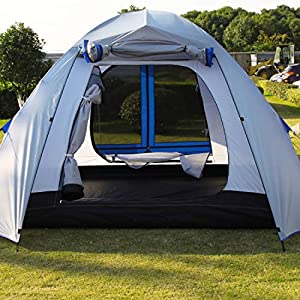Peaktop 3 Bedrooms 1 Large Living Room 8 Persons Camping Tent Family Group Double Poles Hiking Beach Outdoor Tunnel Dome 3000mm Waterproof &UV Coated Bright Color 1 Year Warranty (5 Shapes)